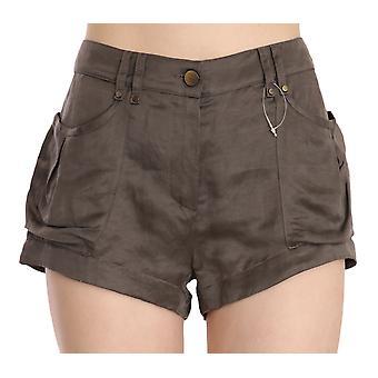 Brown Mid Waist Linen Micro Mini Shorts
