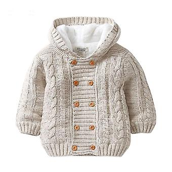Baby Hooded Cardigan Jacket Long Sleeve Fleece Lined Knitted Sweater