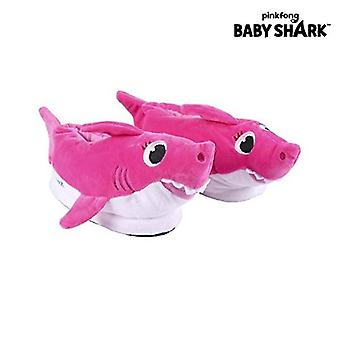 3D house slippers baby shark pink