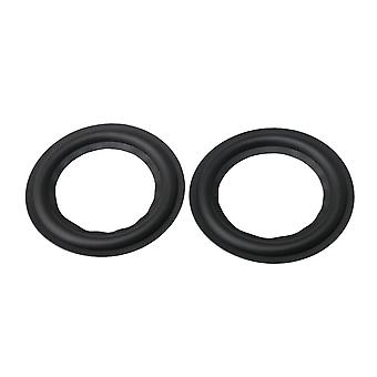 2x Speaker Bass Perforated Rubber Edge Rings Replacement Black 3 Inch
