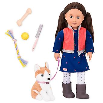 Our generation leslie doll with pet (husky)