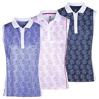 Island Green Womens 2021 Freesia Print Sleeveless Polo Shirt