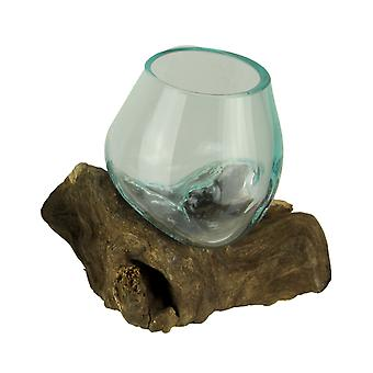 Molten Glass On Teak Driftwood Decorative Bowl/Vase/Terrarium Planter
