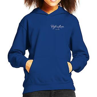 Cafe del Mar Classic White Logo Pocket Print Kid's Hooded Sweatshirt