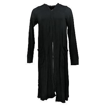 Cuddl Duds Women's Sweater Softwear Open Front Cardi Pockets Black A391552