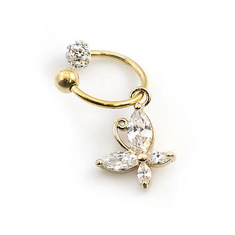 Tragus jewelry with horseshoe, butterfly and ferido ball design 16g