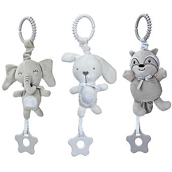 3pcs Bear Rabbit Elephant Rattle Toys With Bb Device Teether Plush Baby Hanging Toys Colorful Rattling Doll For Infant