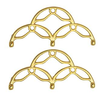 Cymbal Bead Endings para 8/0 Delica &Round Beads, Sitanos III, 16.5x35mm, 2 Piezas, 24k Gold Plated