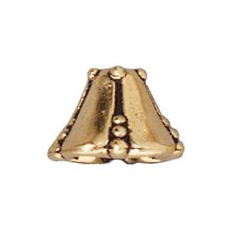 TierraCast 22K Gold Plated Pewter Bell Flower Bead Caps 10mm (x 2)