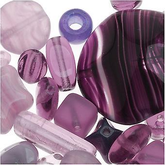 Czech Glass Bead Mix Lot Formas variadas púrpura (2 oz.)