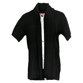 Isaac Mizrahi Live! Dames's Sweater 3/4 Sleeve Cardigan Black A353853