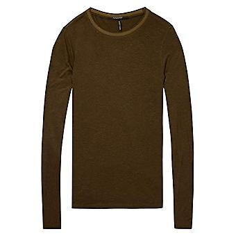 Scotch & Soda Maison Lurex Long Sleeve Tee with Rib Details T-Shirt, Multicolored (Combo A 17), X-Large Woman