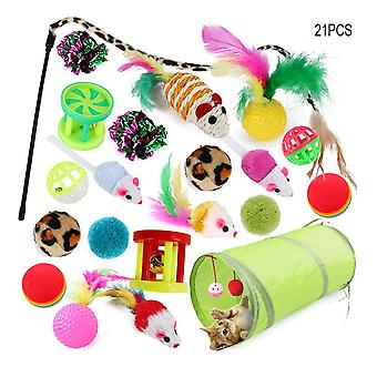 Colorful Cat Toys Pet Kit Collapsible Tunnel 4 Holes Play Tubes Balls Feather Mice Shape Pet