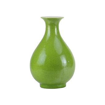 Grass green glaze plain peach shape leaf veins crackle ceramic flower vase