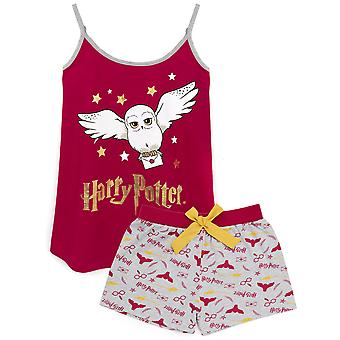 Harry Potter Pyjamas For Women   Adults Hedwig Vest With Magical Burgundy Gold Shorts   Hogwarts Owl Loungewear Merchandise