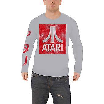 أتاري تي شيرت كلاسيك مربع شعار بالأسى الجديد الرسمي ة اللاعبين الرجال طويل الأكمام