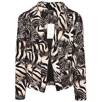 Frank Lyman Navy Blue & Beige Animal Print Fitted Jacket With Faux Zip Detail