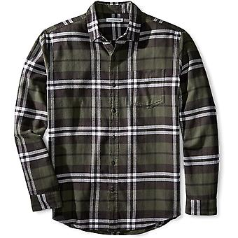 Essentials Men's Regular-Fit Long-Sleeve Plaid Flannel Shirt, Olive Plaid, X-Large