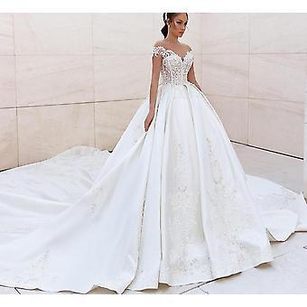 Royal Satin Beaded Lace Appliques Off The Shoulder Princess Bride Gown ( Set 1)