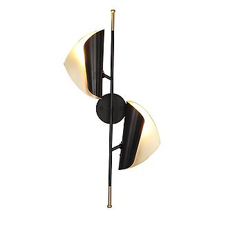 Leaf Wall Lamp Wrought Iron Black Inner And Outer Gold Tricolor Lamp 29.5*15.7*11.8inch