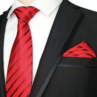 Red stripe pattern necktie tie & pocket square hanky set