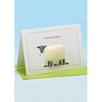 Puuttuva äkäinen käsintehty lammaskortti