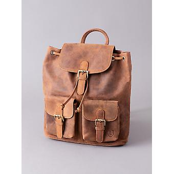 Hunter Leather Backpack in Tan