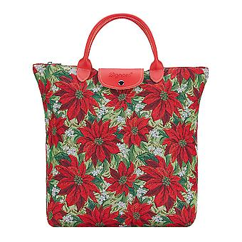 Christmas poinsettias foldaway shopping bag | red foldable tote | fdaw-xmas-poin