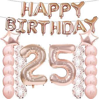 Partyzubehör zum 25. Geburtstag, Luftballons zum 25. Geburtstag. Geburtstag, aus Rose-Gold, Zahl 25,
