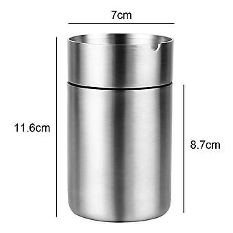 304 Stainless Steel Ashtray Creative Vehicle Metal Ash Container With Lid Windproof Car Ashtray