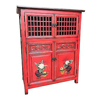 Fine Asianliving kinesiske kabinet Rød håndmalede Detaljer W85xD45xH106cm