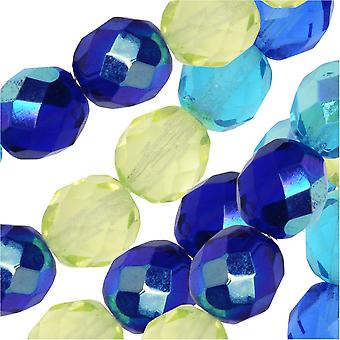 Czech Fire Polished Glass Beads, Faceted Round 8mm, 19 Pieces, Lagoon Mix