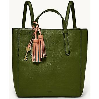 Fossil Camilla Green Olive Leather Convertible Backpack Tote ZB1402311