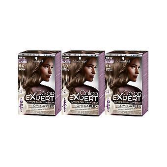 Schwarzkopf farge Expert 6,0 lys brun Omegaplex permanent hår fargestoff x 3 Pack
