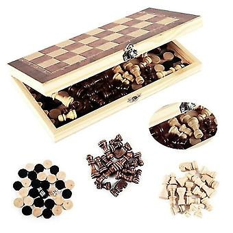 Tile games 3 in1 folding wooden chess board game checkers backgammon draughts toys christmas gifts
