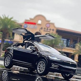 Lekebiler 1:24 tesla modell x legering bil modell for barn dø støpt bil leker barn julegaver svart