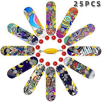 25pcs Finger Skateboard Mini Desktop Toy Set With 12 Skateboard Wheel