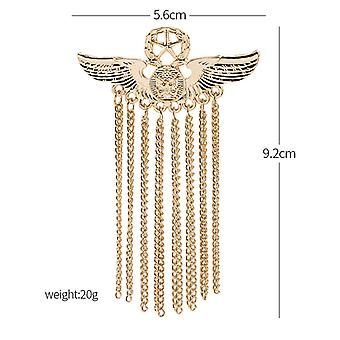 Creative Five-pointed Star Badge Angel Wing Chain Fringed Pin Accessories