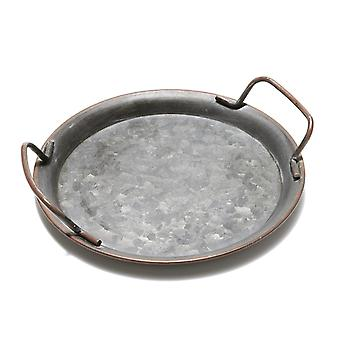 Vintage Style Metal Round Serving Tray