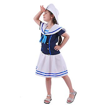 Kinderen Ocean Sailor Suit met hoed en stropdas vakantie jurk omhoog