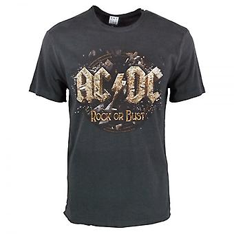 Amplified Amplified Mens ACDC Rock Or Bust T Shirt Charcoal