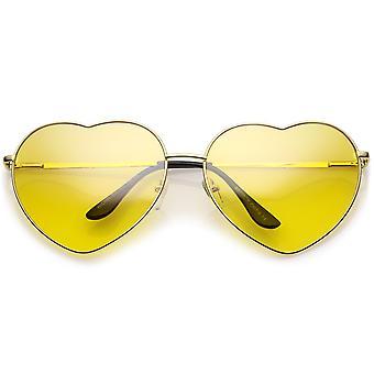 Gafas de sol de gran tamaño corazón Metal con finos brazos de Metal color lente 70mm