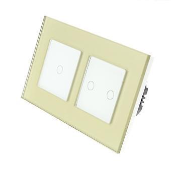 Ik LumoS gouden glas dubbel Frame 3 bende 1 manier WIFI / 4G Remote & Dimmer Touch LED licht schakelen witte invoegen
