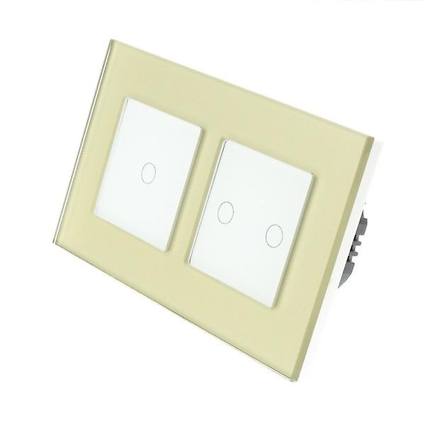 I LumoS Gold Glass Double Frame 3 Gang 1 Way Remote Touch LED Light Switch White Insert