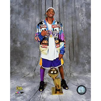 Kobe Bryant with the NBA Championship Trophy after winning Game 4 of the 2002 NBA Finals Photo Print (8 x 10)