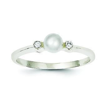 925 Sterling Silber poliert solide zurück CZ Zirkonia simuliert Diamant Süßwasser kultiviert Perle Ring Schmuck Geschenke