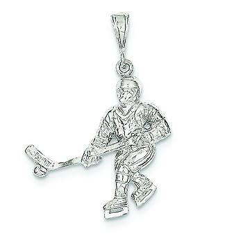 925 Sterling Silver Solid Polished Hockey Player Charm - 3.7 Grams