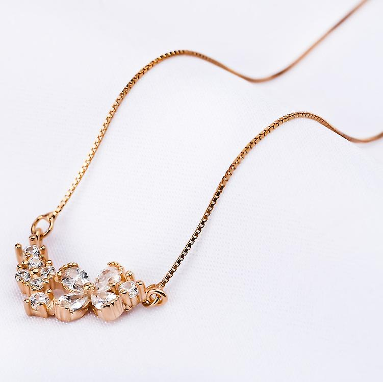 Affici Sterling Silver Necklace 18ct Rose Gold Plated Diamond CZ Gems