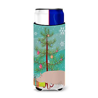 English Large White Pig Christmas Michelob Ultra Hugger for slim cans