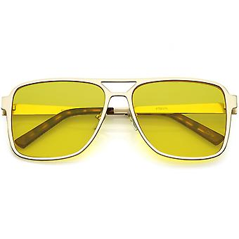 Oversize Flat Top Aviator Sunglasses Color Tinted Square Flat Lens 58mm